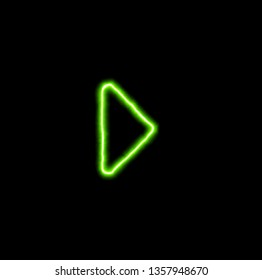 green neon symbol caret right