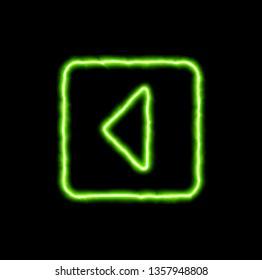 green neon symbol caret square left