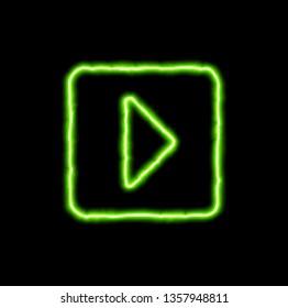 green neon symbol caret square right