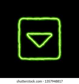 green neon symbol caret square down
