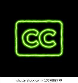 green neon symbol closed captioning