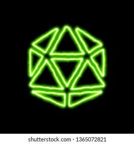 green neon symbol dice d20