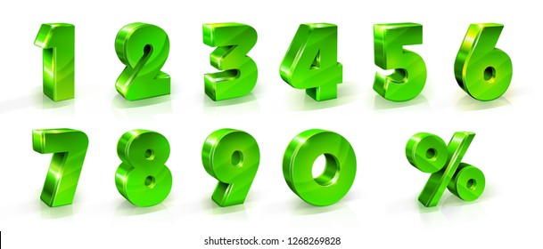 Green numbers 1, 2, 3, 4, 5, 6, 7, 8, 9, 0 and percent sign Set for web and advertising banners posters flyers promotional items Seasonal discounts Black Friday 3d styled illustration