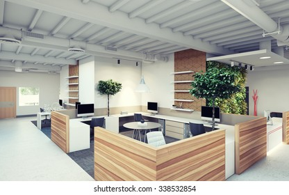 green office design with wood dividers 3d Rendering