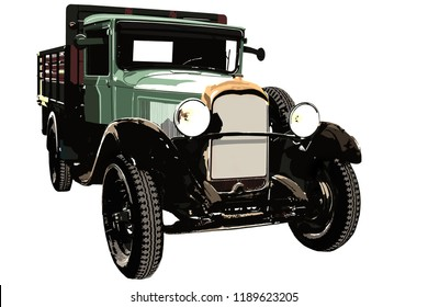A green old pickup on white background