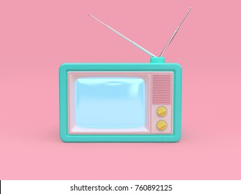 green old television cartoon style pink background 3d rendering technology concept