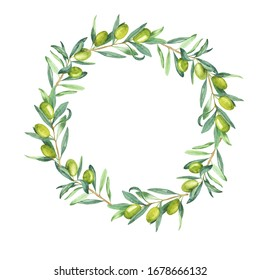 Green olive leaves and berries frame isolated on white background. Hand drawn watercolor illustration.