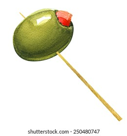 green olives stuffed with pepper on toothpick