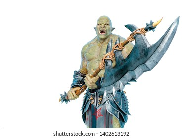 green orc holding a huge axe in a white background. This monster in clipping path is very useful for graphic design creations, 3d illustration