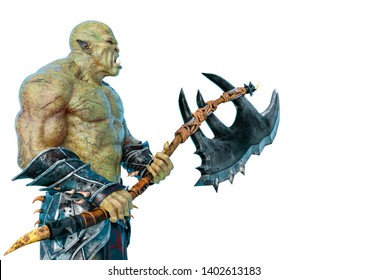 green orc in a white background. This monster in clipping path is very useful for graphic design creations, 3d illustration