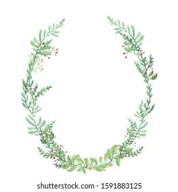 Green oval wreath. Watercolor illustration.