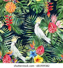 9058d54050771 Green palm leaves, white cockatoo bird, colorful flowers on the black  background. Watercolor