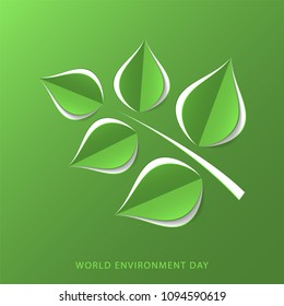 Green paper tree branch. Paper cutout green leaves. World Environment Day, June 5. Eco friendly symbol. Ecology, nature protection concept. Template for banner, poster, leaflet.