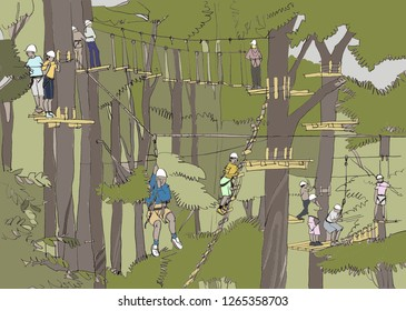 Green park and high rope courses for children and parents