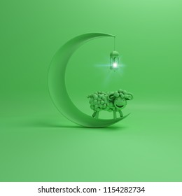 Green pastel cute cartoon sheep smiles with crescent moon and hanging arabic lantern lamp, copy space text. Design creative concept of islamic celebration eid al adha. 3d rendering illustration.