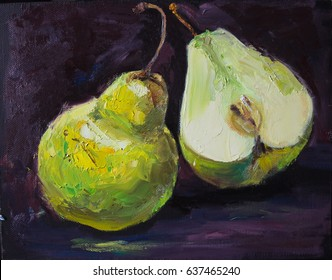 Green pears, one whole and one half-cut, on black background, original oil painting still life on canvas
