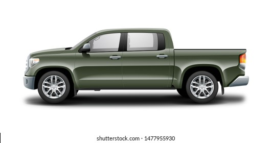 Green Pickup Truck Isolated On White Background. Red Generic SUV Car. Off Road SUV Or Crossover. 3D Illustration Side View With Isolated Path.