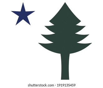 Green Pine Tree and Blue Star Original Maine State Flag with Clipping Path Illustration on White