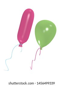 green and pink balloon isolated on white. 3d rendering