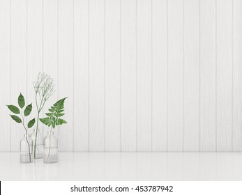 Green plants in the bottles on wooden white wall background. 3D rendering.