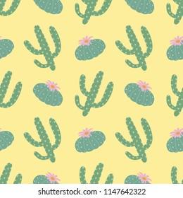 green plants cactus peyote seamless pattern on a yellow background summer fashion print raster copy