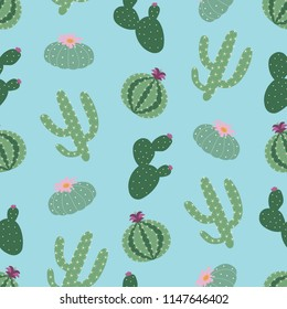 green plants cactus peyote seamless pattern on a blue background summer fashion print raster copy