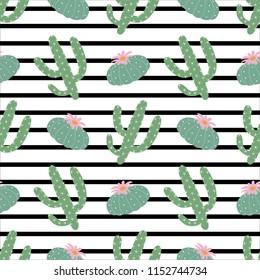 green plants cactus peyote seamless pattern on a black and white horizontal strips background summer fashion print raster copy