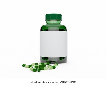 Green plastic bottle with pills lying around on white background 3D illustration