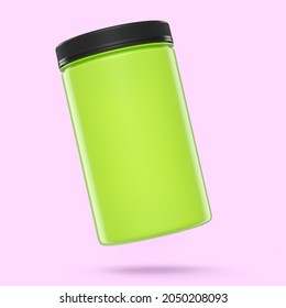 Green plastic jar for sport nutrition whey protein and gainer powder isolated on pink background. 3d rendering of sport supplement for crossfit, trx and powerlifting workout