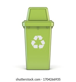 Green plastic recycle bin 3D render illustration isolated on white background