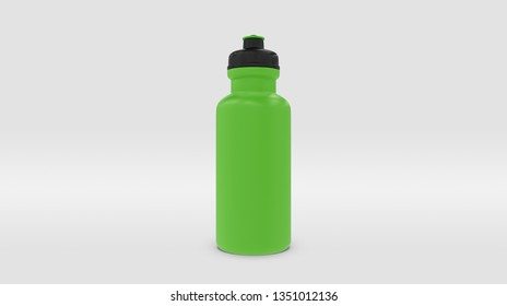 Green Plastic Squeeze Bottle for Souvenir and Product Mockup Isolated on Studio or Infinite Background (3D rendering)