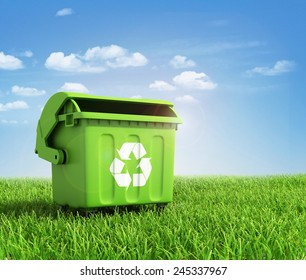 Green plastic trash recycling container ecology concept, with landscape background.