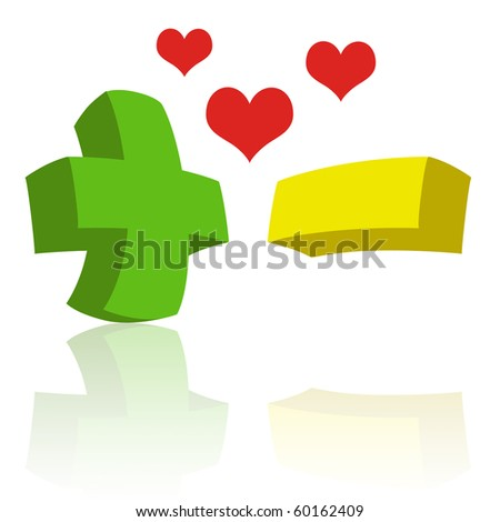 Green Plus Sign Yellow Minus Sign Stock Illustration 60162409