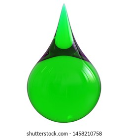 Green poison drop oil droplet toxin glossy translucent. Liquid danger infection toxin infection symbol concept. 3d rendering