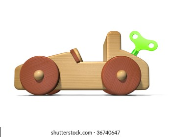 Green power automobile concept using a wind-up toy car.
