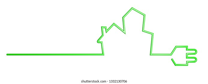 green power cable in shape of houses, 3D Illustration
