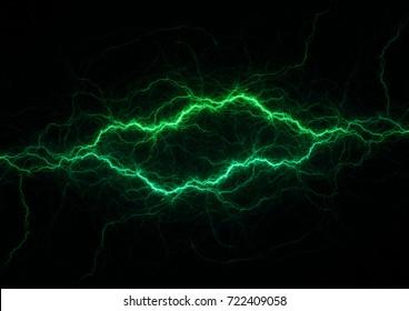 Green power, plasma lightning background