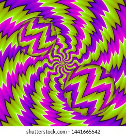 Green and purple 3D illustration with moving spheres. Spin illusion.