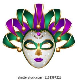 green purple carnival mask mardi gras festival costume illustration