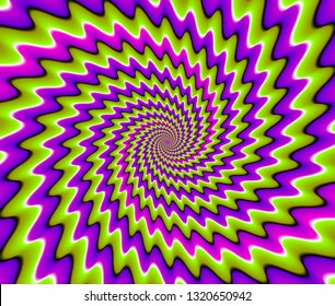 Green and purple spirals. Optical expansion illusion.