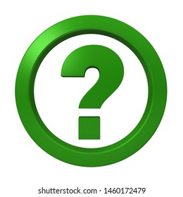 green question mark icon query ask sign interrogation point symbol 3d rendering illustration