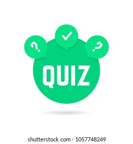 green quiz icon with speech bubble. concept of web template, checkmark, creative tv show, quizz, competition. flat style trend modern logotype graphic design illustration on white background