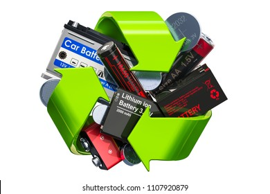 Green recycle symbol with batteries, 3D rendering isolated on white background