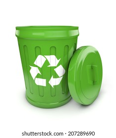 green recycling bin isolated white background