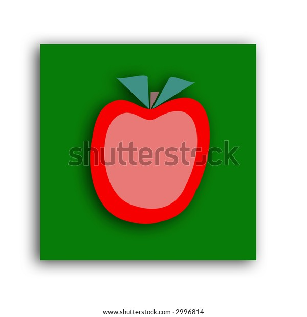 a green and red apple icon with a drop shadow