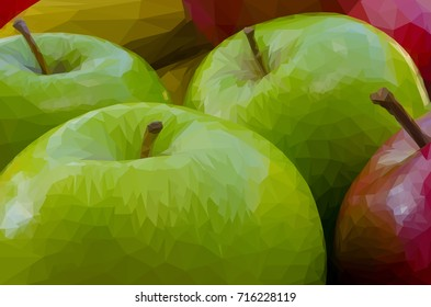 Green and red apples  low poly effect