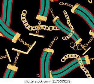 green red color and gold chain pattern