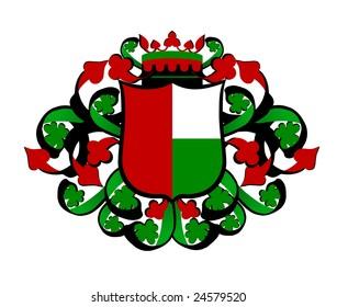 green red heraldic shield