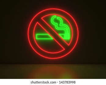 A green and red Neon Sign in Form of a No Smoking Sign on a Wall of Concrete