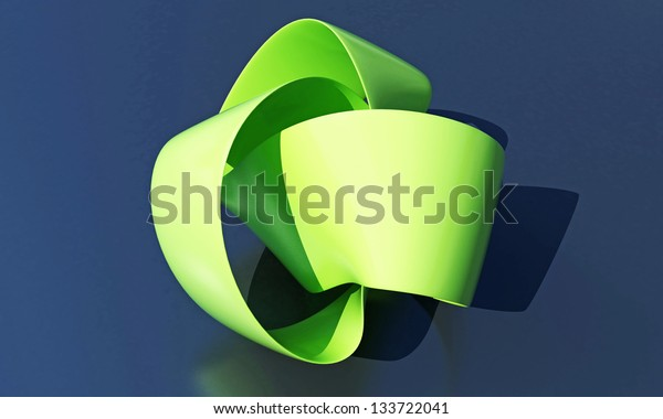 green ribbon on glossy reflective plane